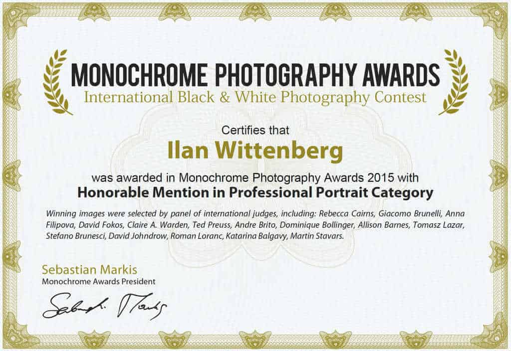 Awards ilan wittenberg photographer for Honorable mention certificate template