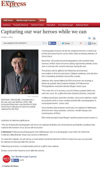 nzipp photographers - WWII portrait project