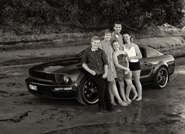 Family portrait with Mustang - Auckland
